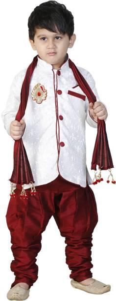 SBN RED SHERWANI WITH DUPPATA Boys Festive Party Kurta And Pyjama Set