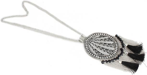 4f0b56fba aradhya Aradhya Silver Antique Black Tassel Necklace for Women (Silver)  Silver Plated Metal Necklace