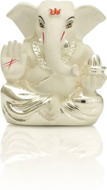 Collectible India Silver Plated White Terracotta Ganesha Statue God Ganesh Idol for Car Dashboard Ganpati Murti Figurine (Size: 6cm x 4cm) Decorative Showpiece  -  6 cm