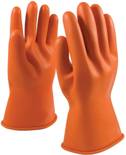 QTM Industrial Safety Chemical Resistant Water Resistant Pure Latex Rubber Gloves Perfect for industrial use, Chemical use, dishwashing, cloth washing ,car washing and 100% wear and tear resistance and cut resistant (Pack of 1 Pair) Latex  Safety Gloves