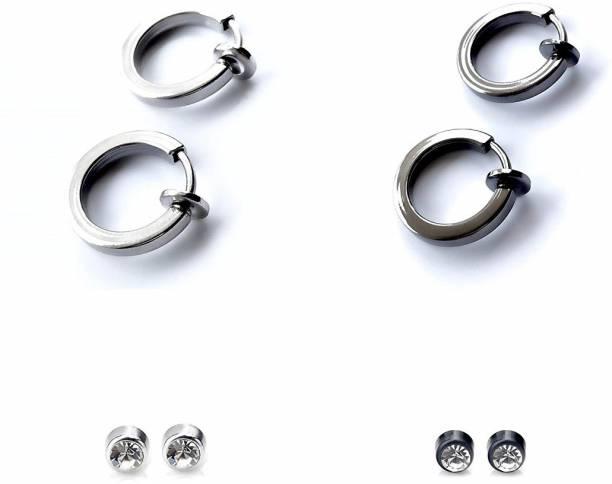 491fb59d9 Gadgetsden 4 Pair Combo of Clip on & Magnetic Unisex Earrings Silver,Gun  Metal Black