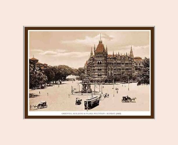 Old Vintage Bombay (Mumbai) Mounted Photo Frame of Orintal Building & Flora Fountain Fine Art Print
