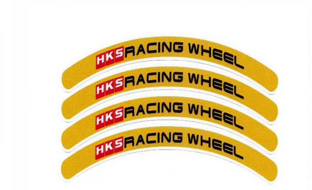 Fuji Medium 4pcs Hks Racing Rim Stickers Wheel Stripes Set Car Motorbike Motorcycle Tuning Sticker