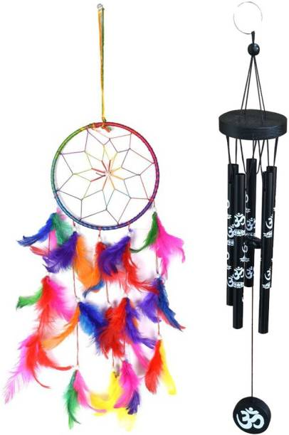 Ryme Combo Of Multi Color 6 Inches Dream Catcher And Feng Shui 5 Pipe Om Printed Black Brass Windchime