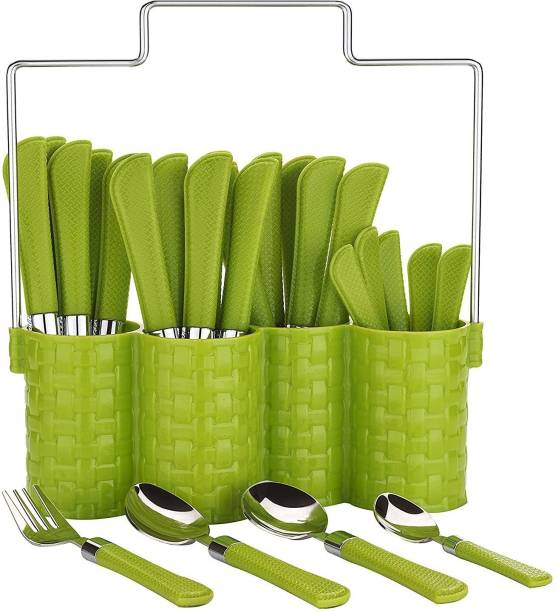 Impulse Emperor Green Cutlery Set-Spoon Set - Spoon Stand - 25-Pieces Stainless Steel Cutlery Set
