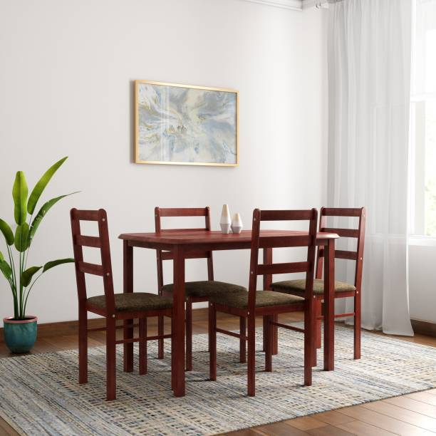 WOODNESS Eleanor Solid Wood 4 Seater Dining Set