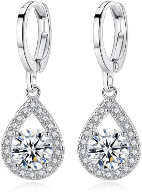 MYKI Vintage Sterling Silver Drop Cubic Zircon Earring For Women & Girls Swarovski Zirconia Sterling Silver