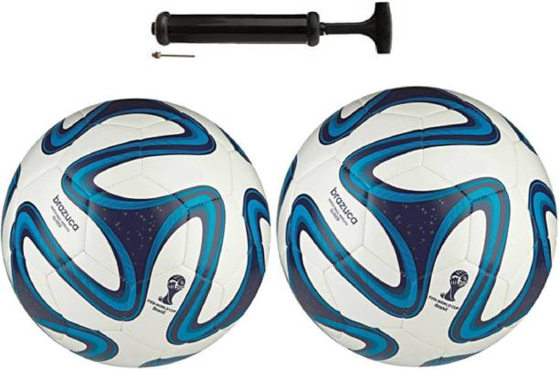 ALEN Brazuca Blue Double Combo Football + Pump Football Kit
