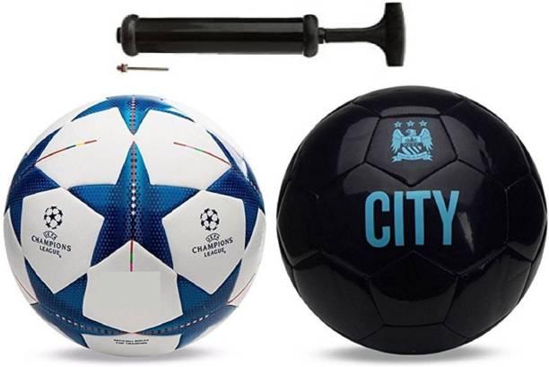 Unik Star Blue + Vicecity Black Football Combo With Pump Football Kit