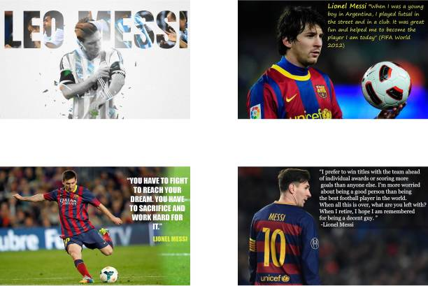 Leo Messi Poster Set of Four Posters | Leo Messi poster for room | Leo Messi Motivational poster | Leo Messi Inspirational poster | Leo Messi Quotes poster Paper Print