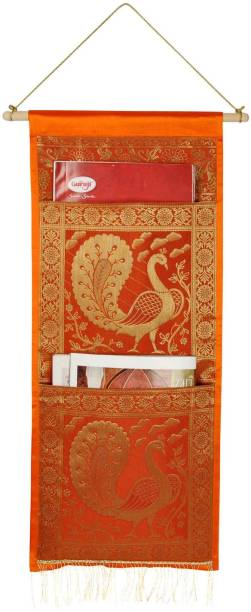 Lal Haveli Ethnic Traditional Silk Pocket Wall Hanging Tapestry