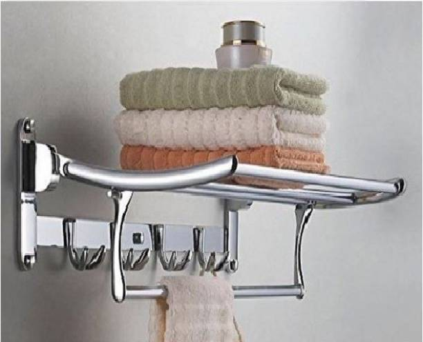 TOPAZ Stainless steel Folding Towel Rack (24 inch - 2 feet) / Towel Holder / Towel Stand / Hanger / Cloth Stand for Bathroom 24 inch 5 Bar Towel Rod