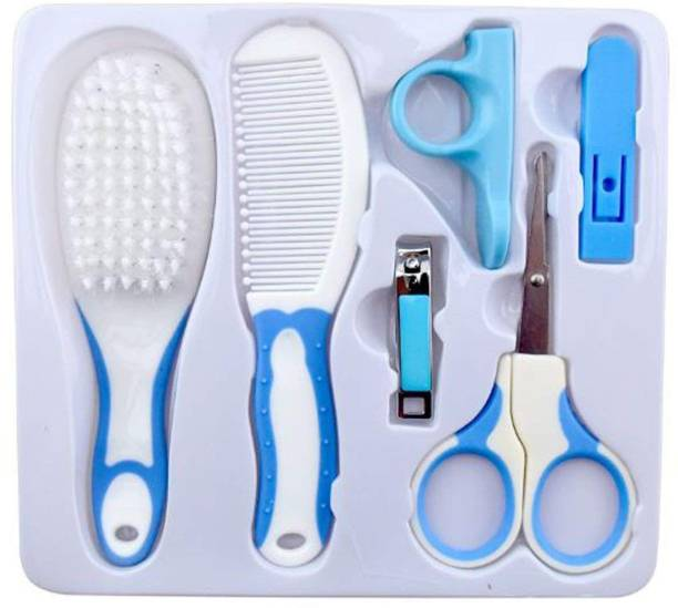OTHER Baby Grooming Essentials Combo (Comb & Brush, Nail Clipper & Scissors,Nail Cover) Pack of 6 (Blue)