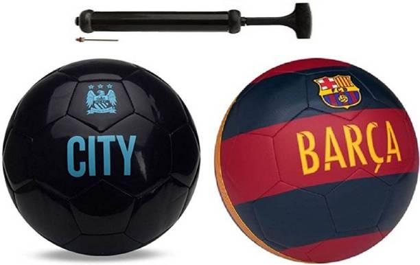Unik City ViceBlack + Barsa Red football Combo With Durable Air Pump. Football Kit