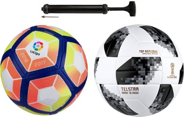 Unik New Lalinga + Star Tel Black Football Combo With Durable Air Pump Football Kit