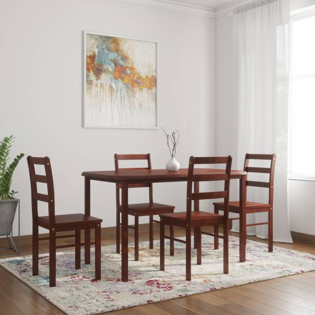 Woodness Florence Solid Wood 4 Seater Dining Set Finish Color   Mahogany