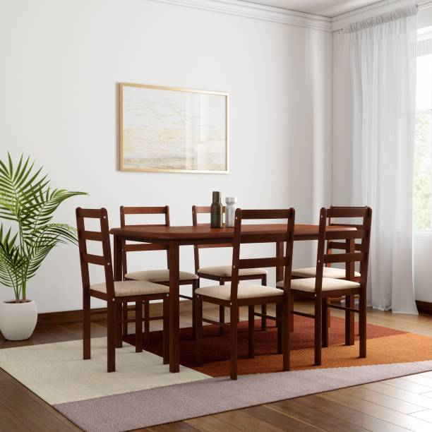 WOODNESS Eleanor Solid Wood 6 Seater Dining Set