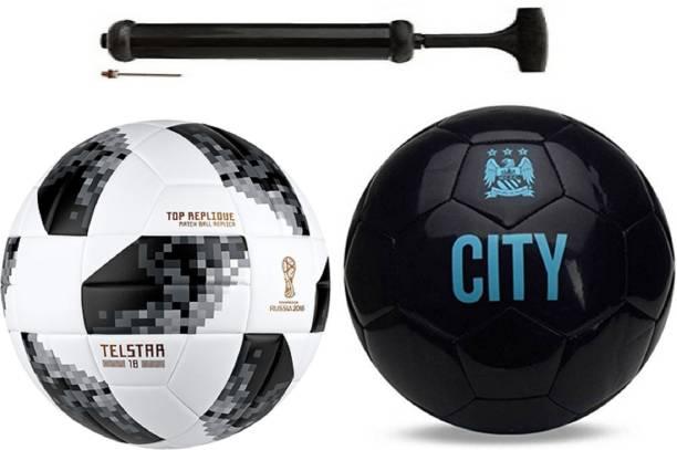 Unik Startel 2018 WC + ViceCity Black Football With Pump Combo Kit Football Kit