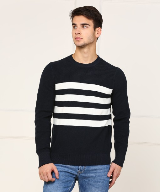 Nautica Striped Round Neck Casual Men\u0027s White, Dark Blue Sweater