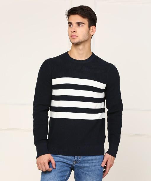 Nautica Striped Round Neck Casual Men\u0027s White, Dark Blue Sweater