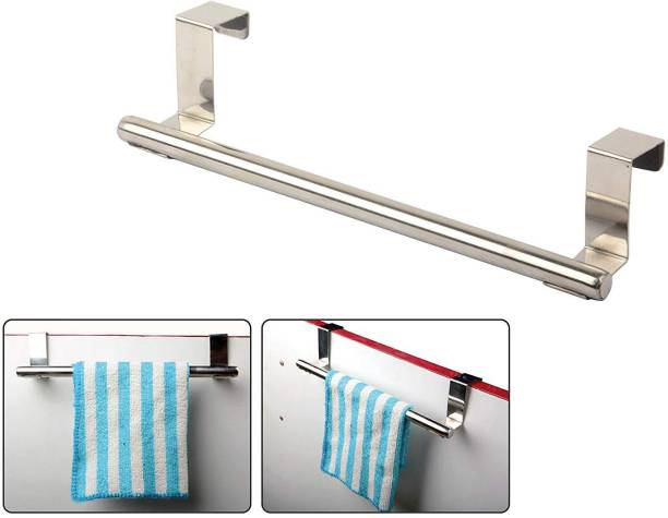 APPUCOCO Over The Door Cabinet Towel Bar Kitchen Hanger, Heavy-duty Steel Hanging Organizer Rack For Bathroom And Kitchen Cabinet Doors With NO Hole Drilling Required Kitchen Storage And Organization Product Accessories (Compatible with Upto 2cm thick door) MADE IN INDIA, Silver Towel Holder