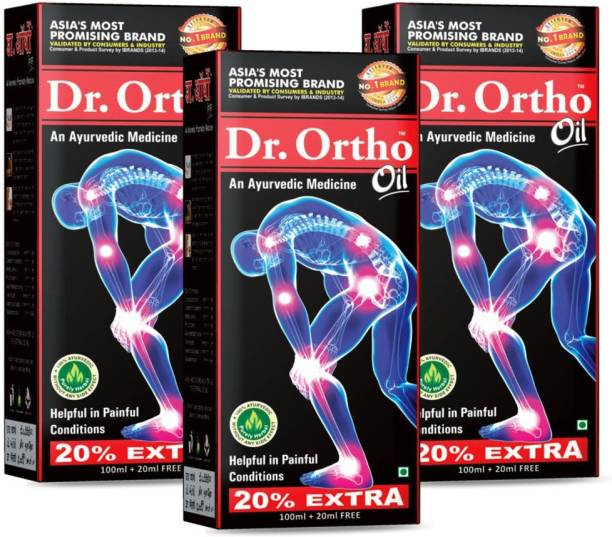 Dr. Ortho Joint Pain Relief Oil 120ml, Pack of 3 - Ayurvedic Joint Pain Massage Oil Liquid