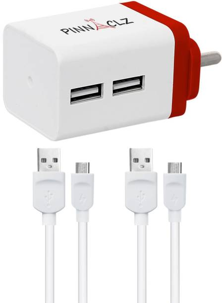 Pinnaclz Combo of Dual USB 2.4 Amp Wall Charger (White-Red) + 2 pcs 3 Feet Lightening Fast Sync & Charge Micro USB Data Cable 2.4 Amp 2.4 A Multiport Mobile Charger with Detachable Cable