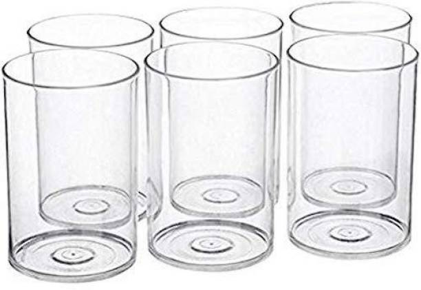MR (Pack of 6) 6 Pcs. Unbreakable Stylish Transparent Water Glass Set 300 Ml,Abs Poly Carbonate Plastic Magic Glasses Glass Set