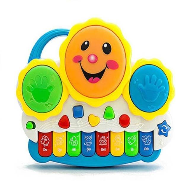 KT BROTHERS Drum Keyboard Musical Toys with Flashing Lights, Animal Sounds And Songs