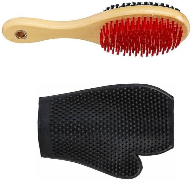 W9 Imported High Quality Double Sided Wooden Bristles Dog Brush With Free Grooming Bathing Gloves Plain/ Bristle Brushes for  Dog