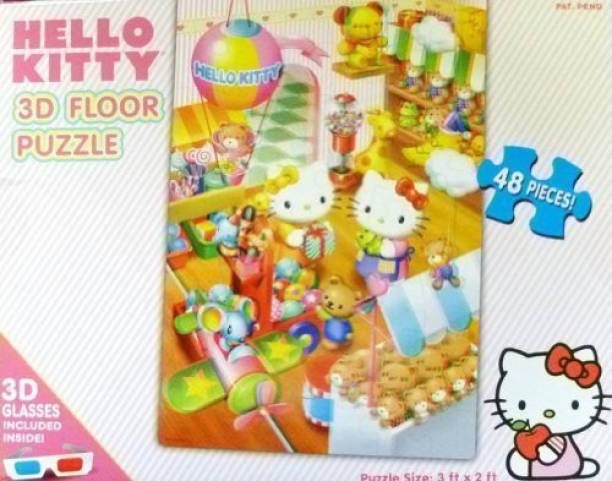 Hello Kitty 48-piece 3D Floor Puzzle with 3D Glasses
