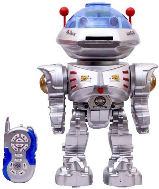 indmart Remote Control Silver Robot throws Discs(Multicolor)