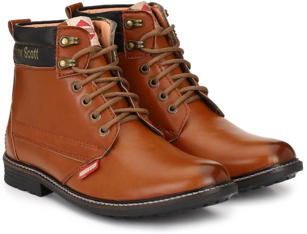 Andrew Scott Tan Synthetic Leather High Ankle Length Boots For Men