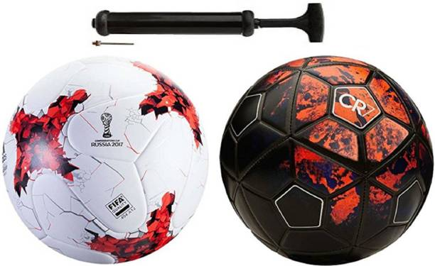 ALEN Luxury Rushia Red + CFR-7 Football Combo With Durable Air Pump Football Kit