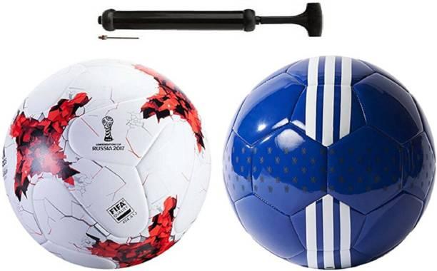 Nice Rushia Red +seyachel Blue Football Combo With Durable Air Pump Football Kit