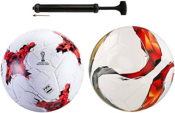 Unik New Rockers Rushia Red + TorraFaric Multicolor Football Combo With Durable Air Pump Football Kit