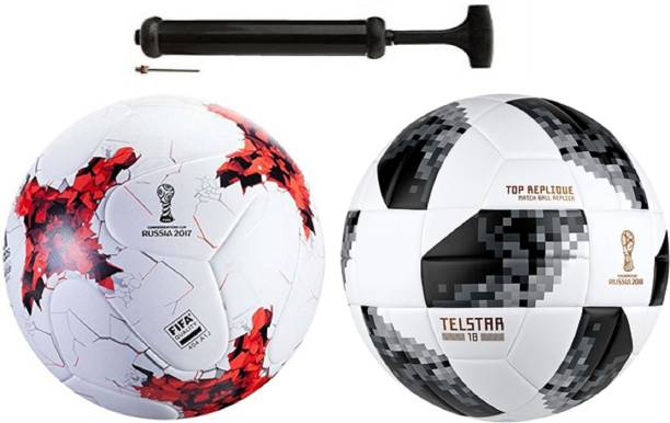 Nice Rushia Red + Startel Black Football Combo With Durable Air Pump Football Kit