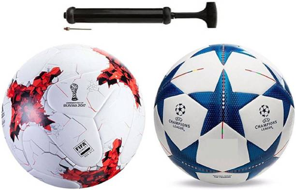 Nice Rushia Red + Star Blue Football Combo With Durable Air Pump Football Kit
