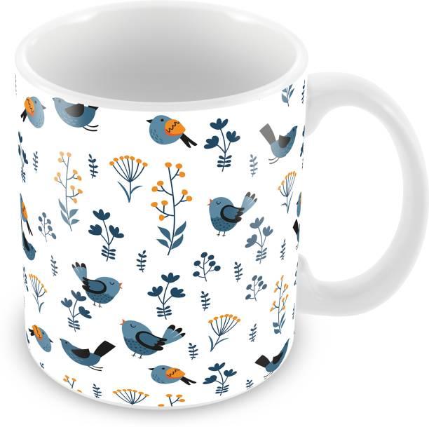 Tuelip Beautiful Seamless Bird Pattern White Color Cup for Tea And Coffee Ceramic Printed (350 ML) Ceramic Coffee Mug
