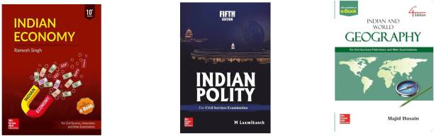 INDIAN ECONOMY BY RAMESH SINGH, INDIAN POLITY BY M LAXMIKATNH AND INDIAN AND WORLD GEOGRAPHY BY MAJID HUSAIN (ENGLISH MEDIUM.PAPAR BACK) Best For Civil Services Examination ,IAS Exam Prelims And Mains Exam,PSC ,UPSC PRELIMS AND MAINS BOOK,CIVIL SERVICES
