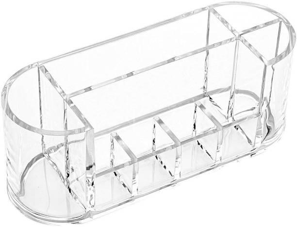 HOUSE OF QUIRK Acrylic Oval Shape Makeup Storage Box-8 Slots Jewellery Organizer, Lipstick Organizer Vanity Box