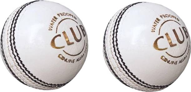 DIABLO Sports Leather Club Cricket Ball White Pack of 2 (2Part) Cricket Leather Ball