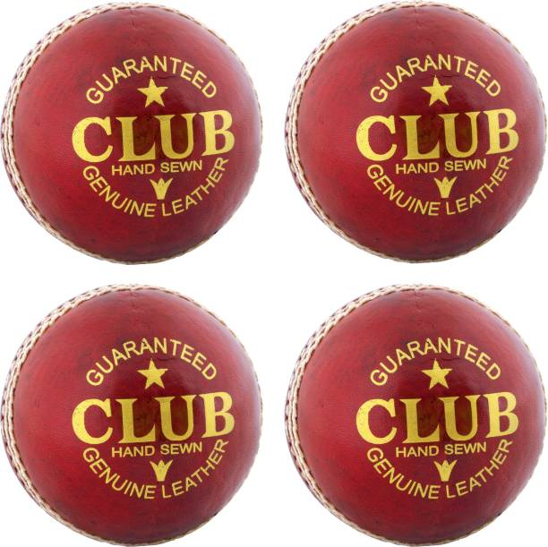 DIABLO Sports Leather Club Cricket Ball Red Pack of 4 (2Part) Cricket Leather Ball