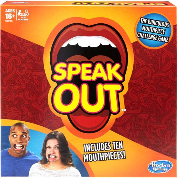 HASBRO GAMING Speak Out Game,Mouthpiece Challenge Game Includes 5 Mouthpieces Party & Fun Games Board Game