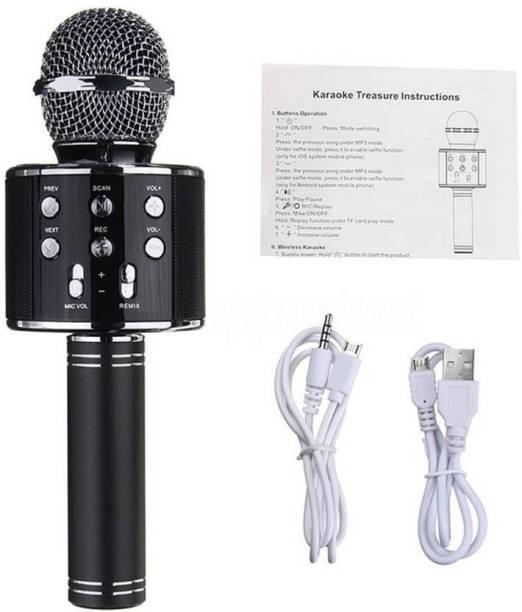 JD WS-858 Wireless Handheld Bluetooth Mic with Speaker (Bluetooth Speaker) Audio Recording and Karaoke Feature Microphone Handheld 858