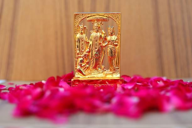 RUDRA DIVINE Brass Ram Darbar (Rama,Sita,Laxman,Hanuman) Murti Idol Statue Sculpture Decorative Showpiece  -  12 cm