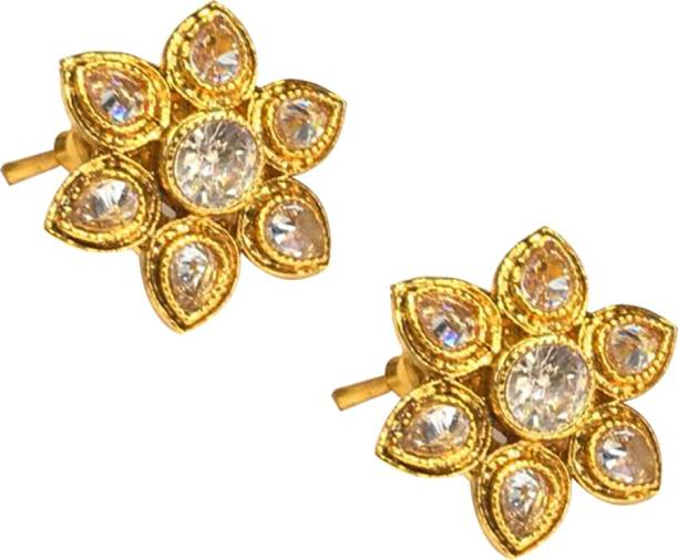 728e5e184 SejalFashions Gold Plated AD Stone & Ruby Wedding wear Flower Stud Earring  for Women Diamond Alloy