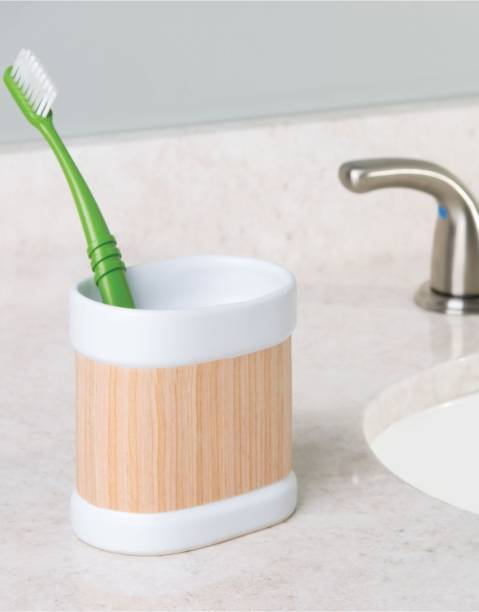 Interdesign Realwood Ceramic Toothbrush Holder Stand