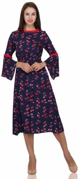 Shalvi Women S Fit And Flare Dark Blue Dress