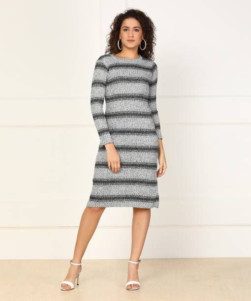 And Women Shift Grey Dress